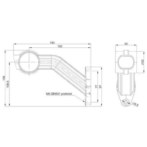 Links   LED breedtelamp    schuine steel   12-36v   1,5mm² connector