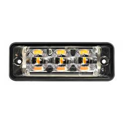 Ultra platte Slimline LED Flitser 3 LED's Rood | 10-30v |