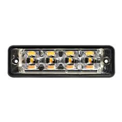 Ultra platte Slimline LED Flitser 4 LED's Wit | 10-30v |