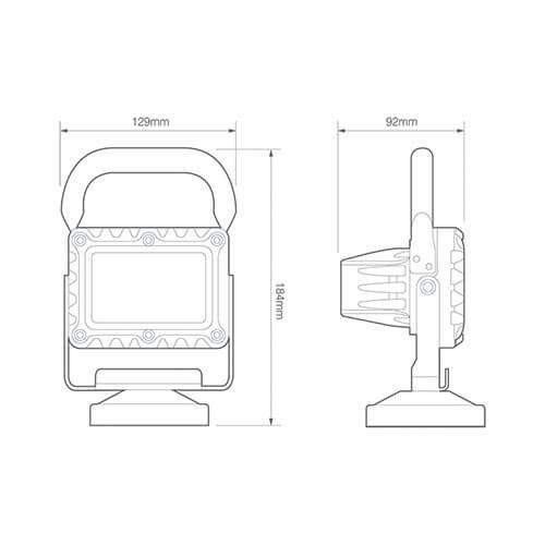 LED Autolamps  LED Werklamp | USB oplaadbaar 18 watt | 1200 lumen  | 12-24v |
