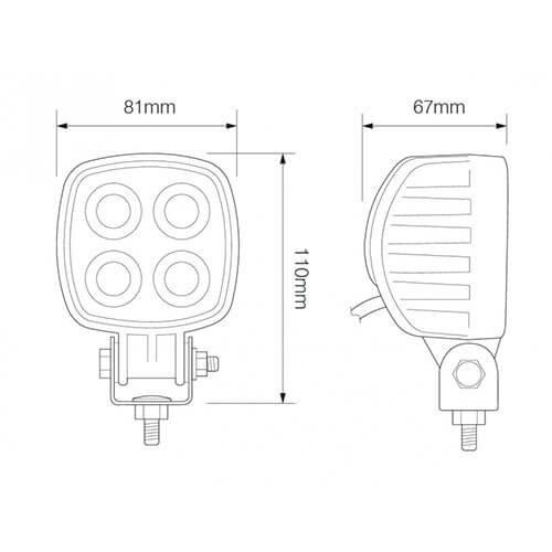 LED LA Werklamp   12 watt   1000 lumen   12-24v   Floodbeam Wit