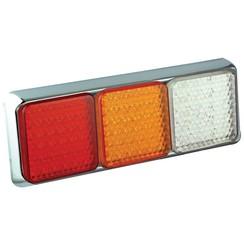 LED rear light with chrome rim | 12-24v | 40cm. cable