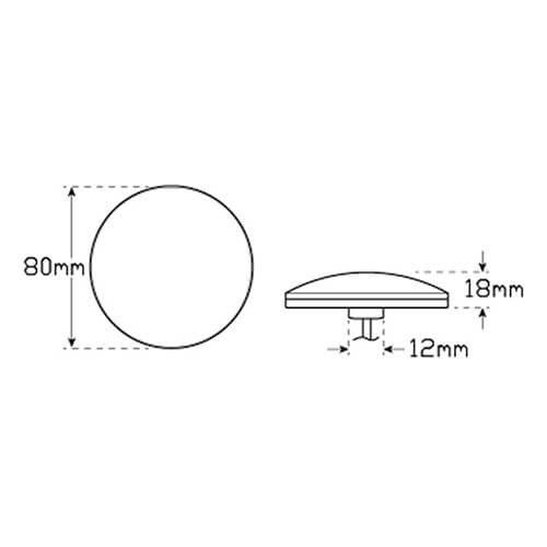 LED Mistlicht  | 12-24v | gekleurde lens 30cm. kabel