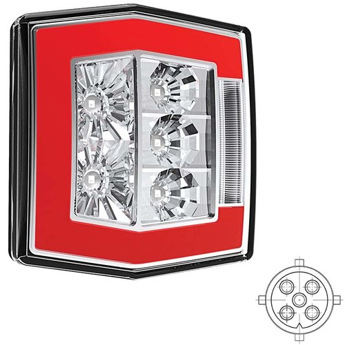 Compact LED rear light with license plate light | 12-36V | 5 pins
