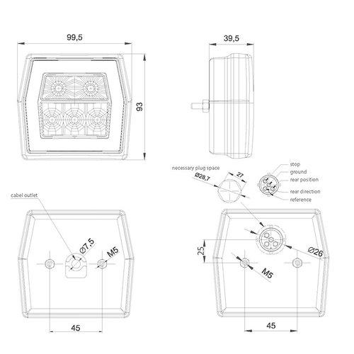 Fristom LED compact achterlicht met kentekenverlichting    12-36v   5 pins