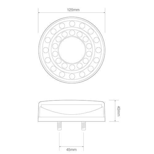 LED achterlicht in chroomlook  | 12-24v | 40cm. kabel