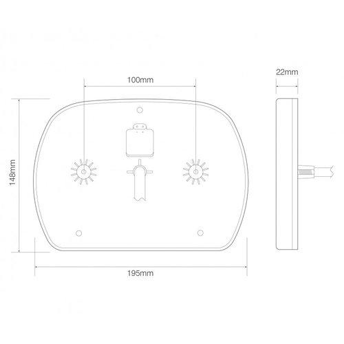 Rechts | LED slimline achterlicht  | 12-24v | 180cm. kabel | 6 PIN connector