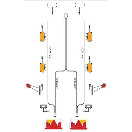 Kabelboom 5-PIN | 14,0m lang met 1400 cm. DC-kabel & 7-polige