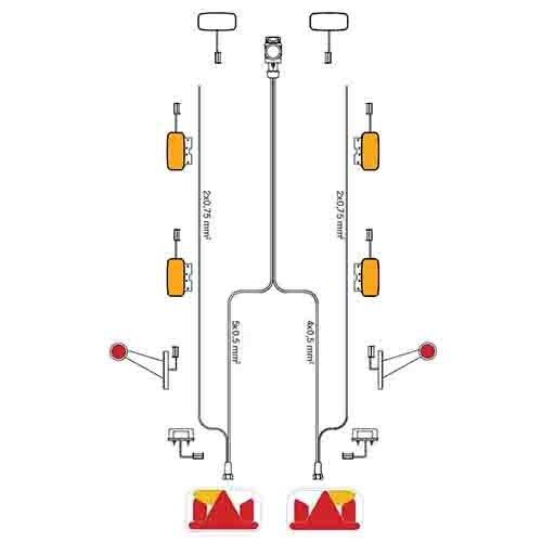 Kabelboom 5-PIN | 9,0m lang met 6,5m DC-kabel & 13-polige