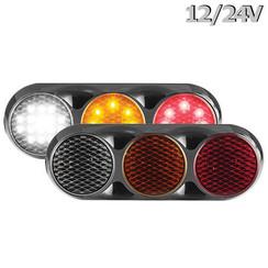 Kombination LED-Leuchte | 12-24V | 30cm. Kabel (Farbe + schwarz)