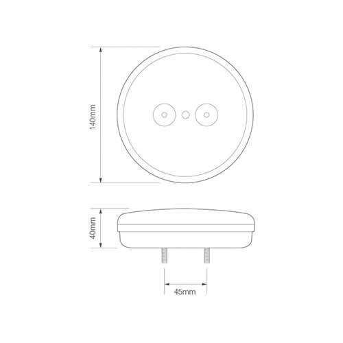 LED Autolamps  LED achteruitrijlicht slimline  | 12-24v | 30cm. kabel