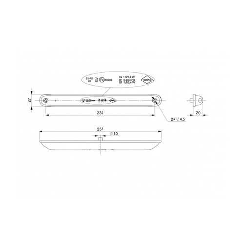 LED rem/achterlicht slimline    12-24v   100cm. kabel