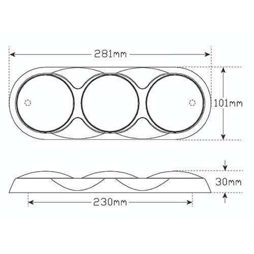 Combination LED light | 12-24v | 30cm color. cable (+ bRight chrome)