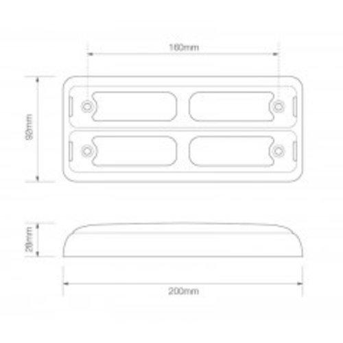 LED achterlicht slimline    12-24v   40cm. kabel