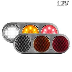 Kombination LED-Leuchte | 12v | 30cm. Kabel (Farbe + Chrom)