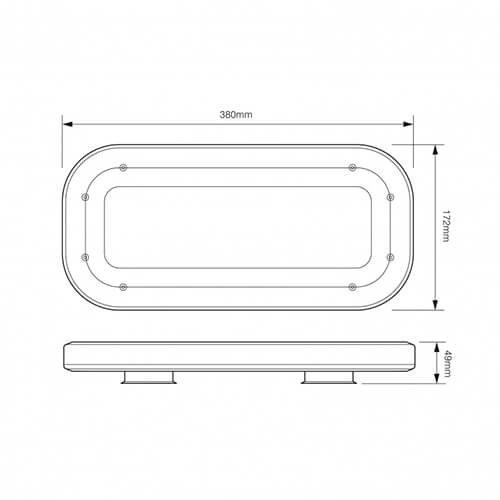 Compacte (380mm) R65 minibar  | 12-24v | zuignap montage