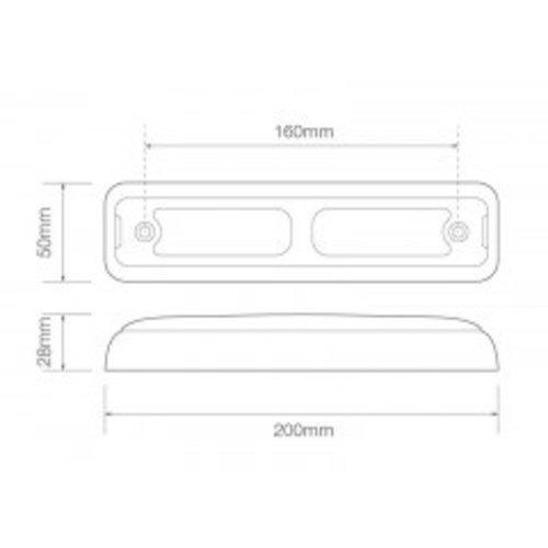LED achterlicht slimline  | 12-24v | 40cm. kabel