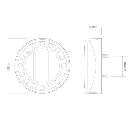 LED Autolamps  LED achterlicht in chroomlook  | 12-24v | 40cm. kabel