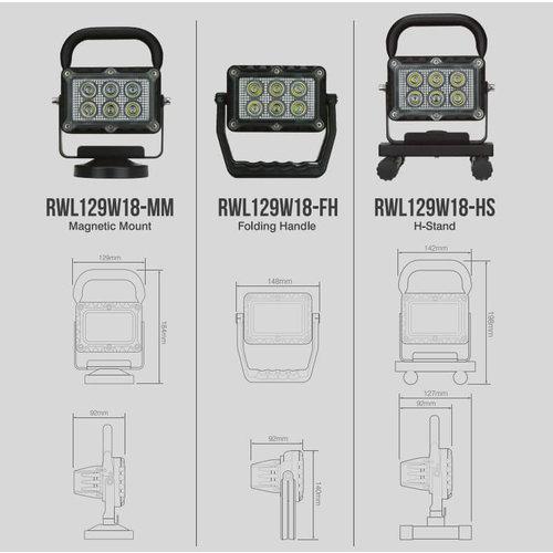 LED Autolamps  LED werklamp 18 watt USB oplaadbaar / 1200 lumen 12/24v