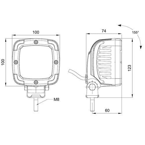Kleurrand grijs tbv 36-serie Werklamp |