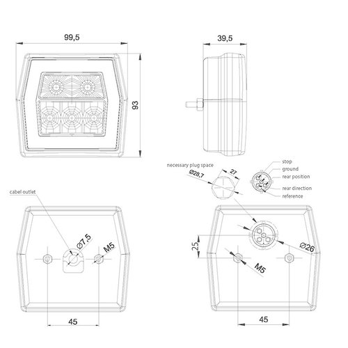 LED compact achterlicht met kentekenverlichting  | 12-36v | 100cm. kabel