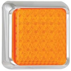 LED knipperlicht met chromen rand  | 12-24v | 40cm. kabel
