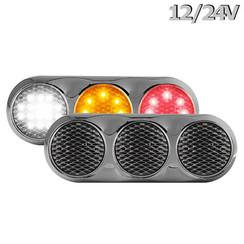 LED Combi lamp | 12-24v | 30cm. kabel (helder + chroom)