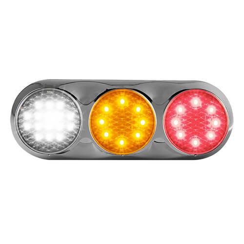 Combination LED light | 12-24v | 30cm color. cable (color + chromium)