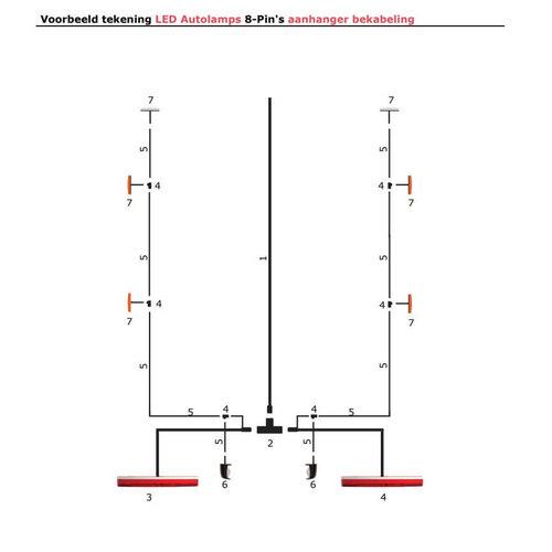 LED Autolamps  7,3m. hoofdkabel met T-stuk & 5 pins connector