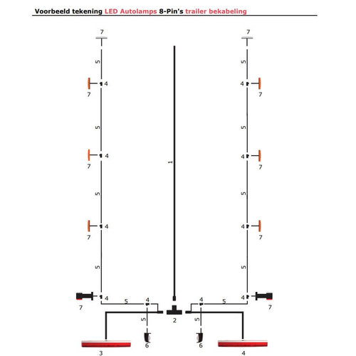 LED Autolamps  6,100cm. hoofdkabel met T-stuk & 5 pins connector
