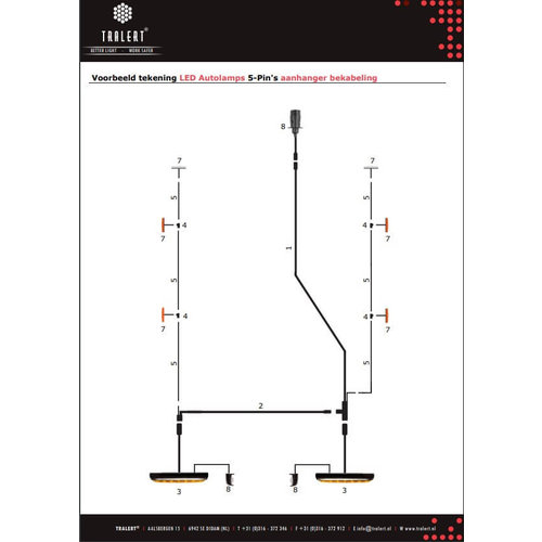 6,100cm. hoofdkabel met T-stuk & 5 pins connector