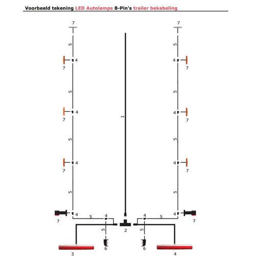LED Autolamps  5,5m. hoofdkabel met T-stuk & 5 pins connector
