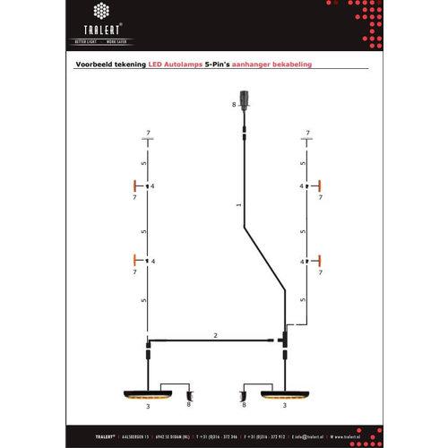 5,5m. hoofdkabel met T-stuk & 5 pins connector