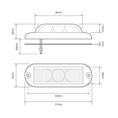 LED Flitser 3 LED's Blauw 180° | 10-30v |