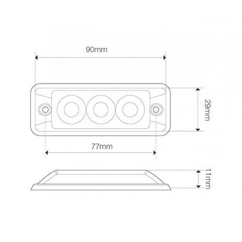 Ultra platte Slimline LED Flitser 3 LED's Wit | 12-24v |