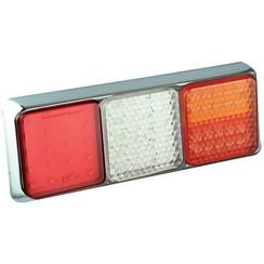 LED achterlicht met chromen rand  | 12-24v | 40cm. kabel