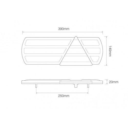 LED Autolamps  Linker LED slimline achterlicht  | 12-24v | 240cm. kabel | 6 PIN connector