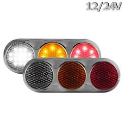 Kombination LED-Leuchte | 12-24V | 30cm. Kabel (Farbe + Chrom)