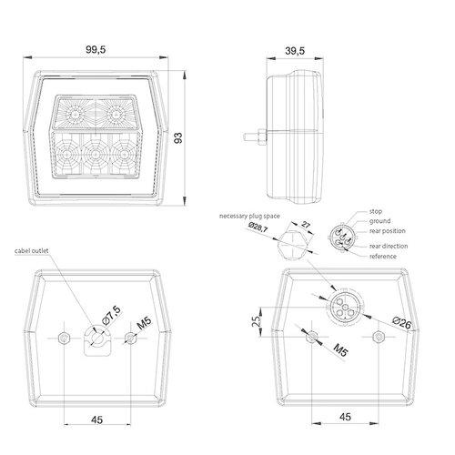 LED achteruitrijlamp met achterlicht  | 12-36v | 100cm. kabel