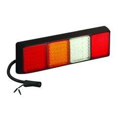 Rechts | LED achterlicht vierkant | 12-24v | 120cm. kabel | 6 PIN connector