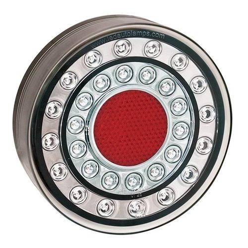 LED achteruitrijlicht in chroomlook    12-24v   40cm. kabel