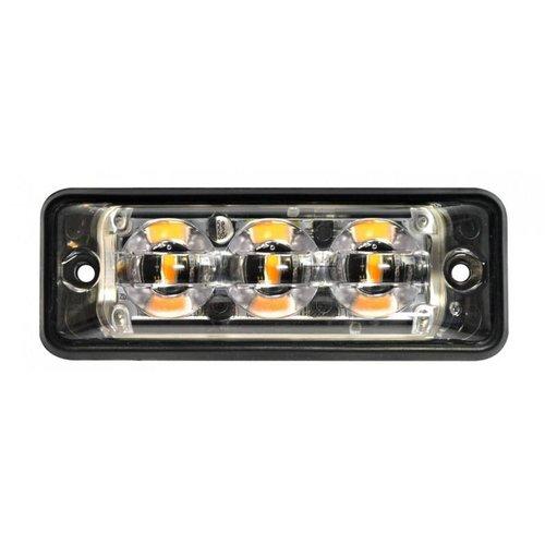 Ultra platte Slimline LED Flitser 3 LED's Blauw | 10-30v |