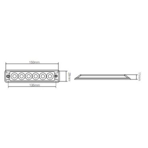 LED Autolamps  R65 Ultra platte Slimline LED Flitser 6 LED's Amber | 10-30v |