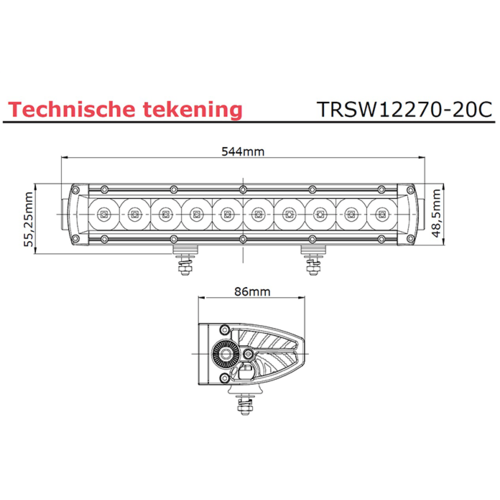 LED bar   100 watt  9960 lumen   9-30v   40cm. kabel   Deutsch-connector
