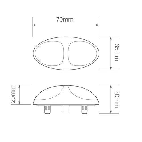 LED Autolamps  LED markeerlicht amber  | 12-24v | 30cm. kabel