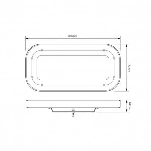 Compact (380mm) R65 minibar | 12-24v | fixed mounting