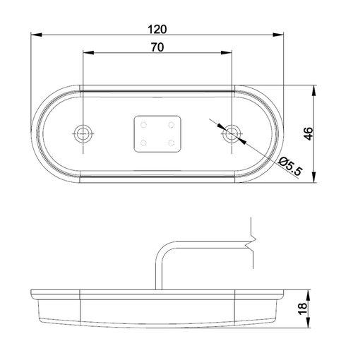 LED markeerlicht wit  | 12-24v |  0,75mm² connector