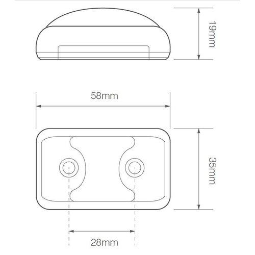 LED Zij-knipperlicht amber    12-24v    40cm. kabel