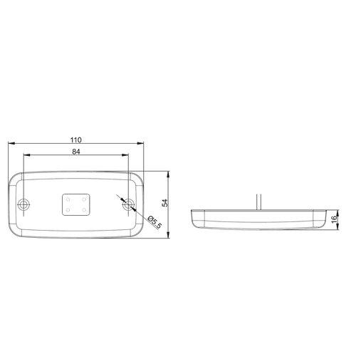 LED markeringslicht amber  | 12-36v | 0,75mm2 connector