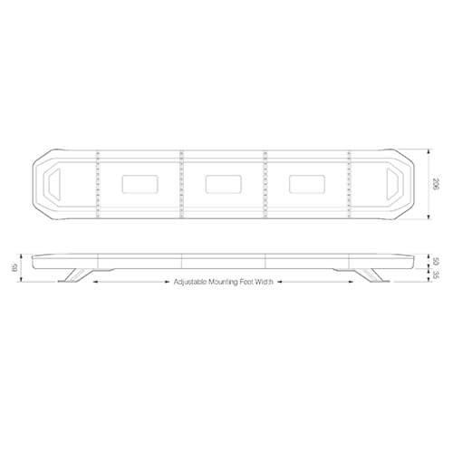 LED zwaailampbalk R65 | 1345mm eindmodules flitsend | 10-30v |
